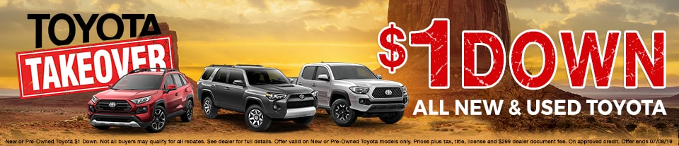 $1 Down On All New & Used Toyota During Toyota Takeover at Larry H. Miller Toyota Murray!