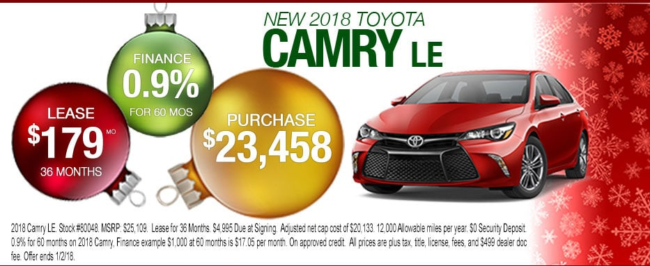 New 2018 Camry Lease or Purchase Offer for Peoria Toyota Shoppers