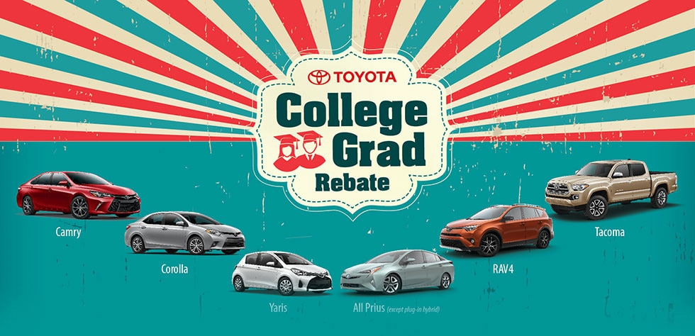 Save more on a qualified new Toyota Purchase in Peoria, AZ with the Toyota College Grad Rebate Program.