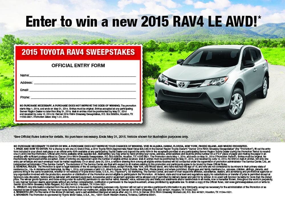 RAV4 Giveaway ( OFFER EXPIRED ) | Larry H  Miller Toyota Peoria