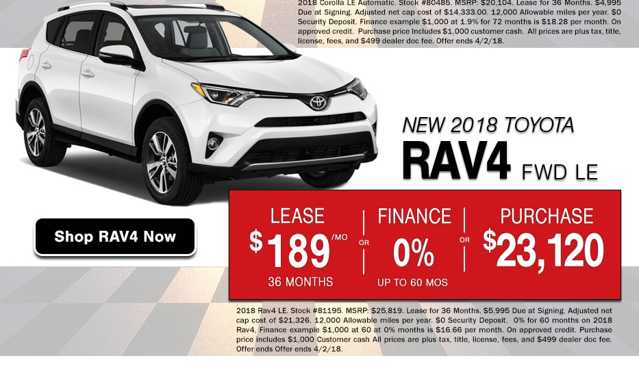 Browse New RAV4 Inventory in Peoria, AZ and take advantage of Presidents Day Sale offers that lost all month long.