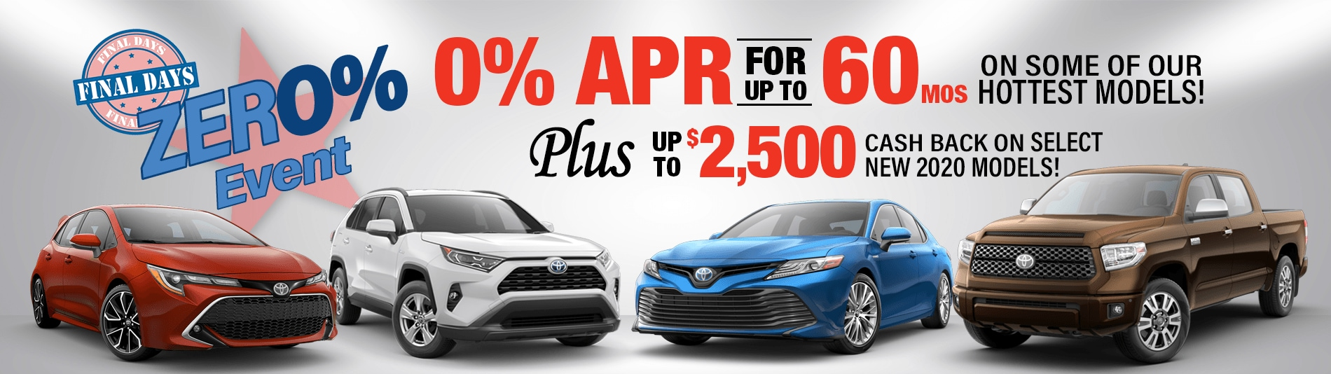Shop New Toyotas in Peoria, AZ with 0% Financing up to 60 months and up to $2,500 Cash Back!