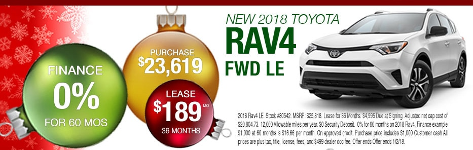 New 2018 RAV4 Lease or Purchase Offer for Peoria Toyota Shoppers