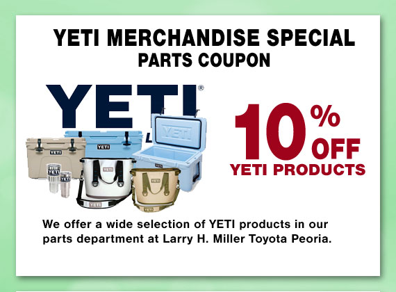 Save on YETI Merchandise at Larry H Miller Toyota Peoria Parts Department