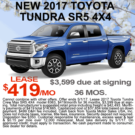 New 2017 Toyota Tundra Lease Colorado Springs
