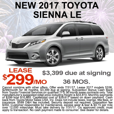 New 2017 Sienna Lease $299/mo Colorado Springs