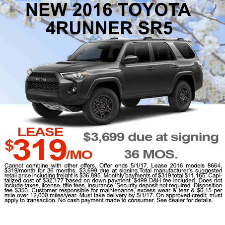 New 2017 Toyota 4Runner Lease Colorado Springs