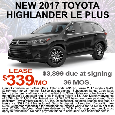 New Toyota Highlander Lease $339/mo Colorado Springs