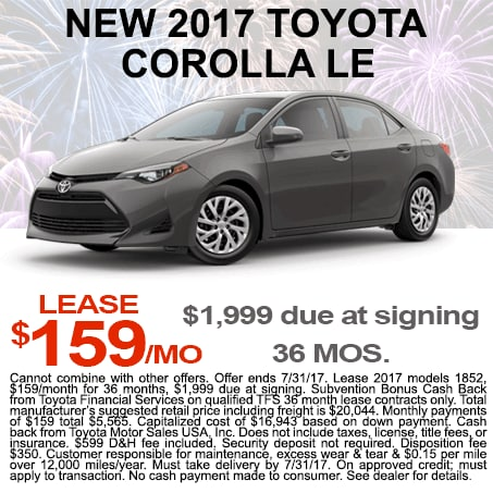 New Toyota Corolla Lease $159/mo Colorado Springs