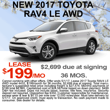 New 2017 Toyota RAV4 Lease Colorado Springs