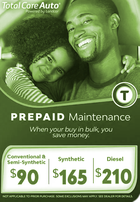 Get 3 oil changes, multi-point inspections and tire rotations when you purchase a TCA Prepaid Maintenance Package
