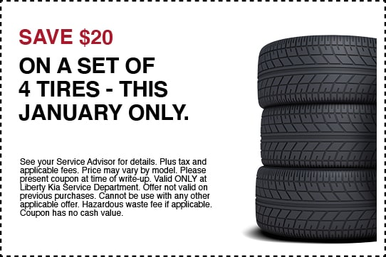 Save $20 on a Set of 4 Tires
