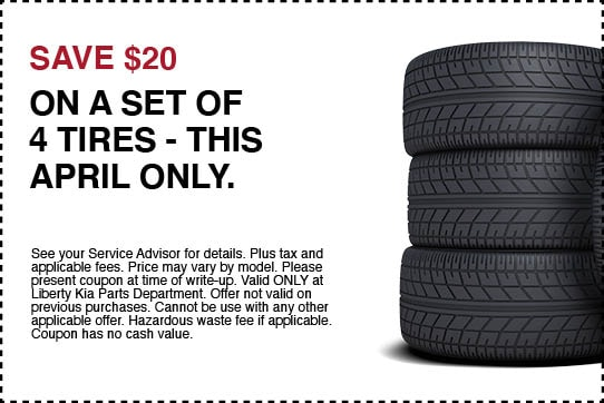 Save $20 on a set of 4 tires - april