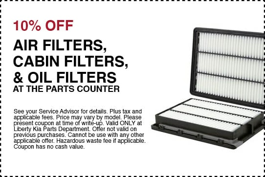 10% off air/ cabin/ oil filters