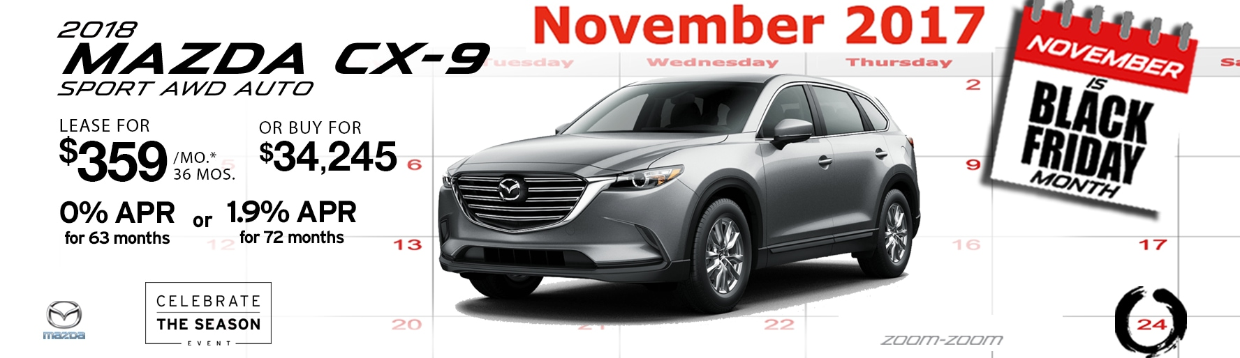 2018 Mazda CX-9 Sport AWD Auto Lease Special at Liberty Mazda