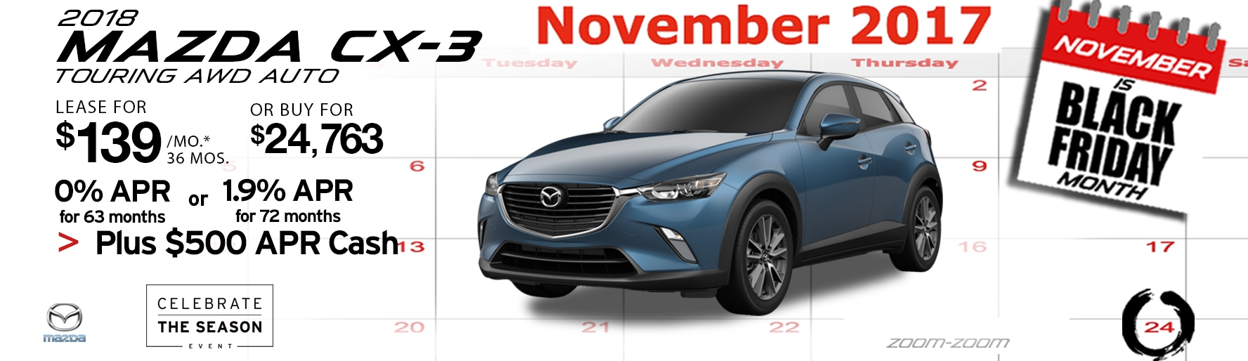 2018 Mazda CX-3 Touring AWD Auto Lease Special at Liberty Mazda