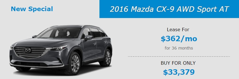 2016 Mazda CX-9 AWD Sport AT Lease Special at Liberty Mazda