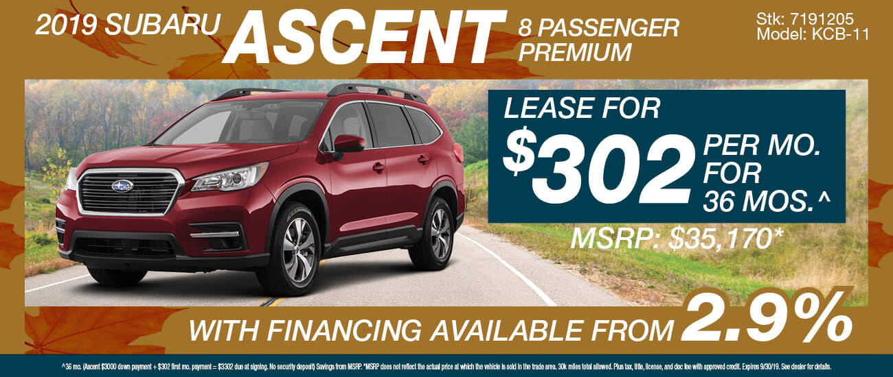 Lease a 2019 Subaru Ascent 8 passenger Premium for $302/mo. for 36 mos.
