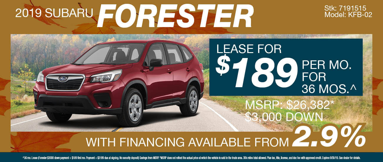 Lease a 2019 Subaru Forester for $189/mo. for 36 mos.