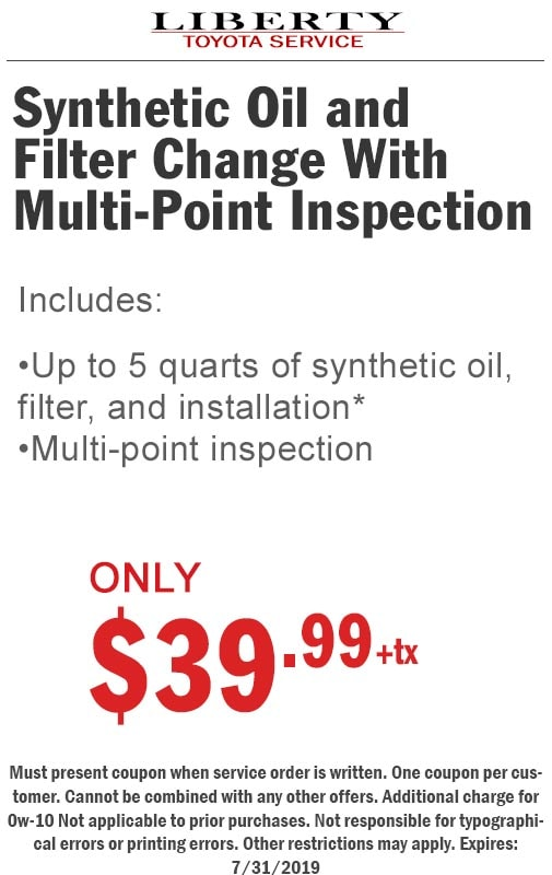Toyota Synthetic Oil Change Coupon >> Toyota Service Parts Specials In Burlington Nj Find Special
