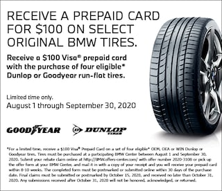Receive a prepaid card for $100 on select original BMW tires.