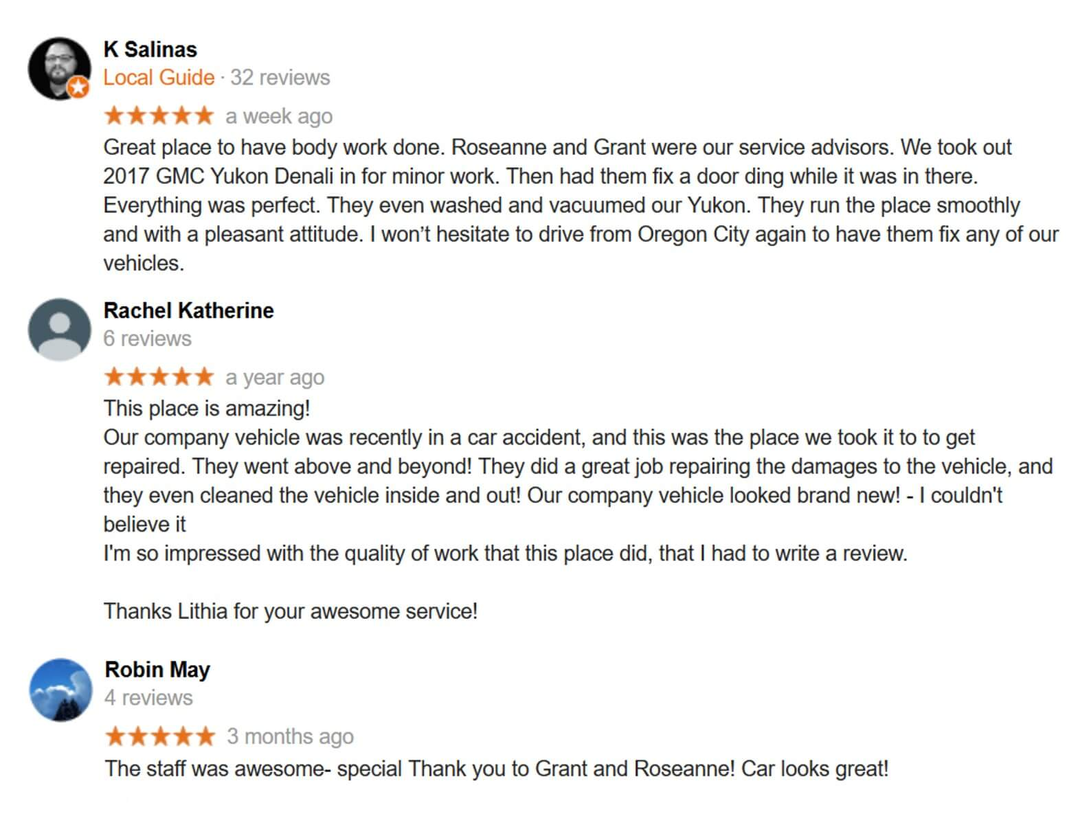 Lithia Body and Paint of Portland Customer Reviews