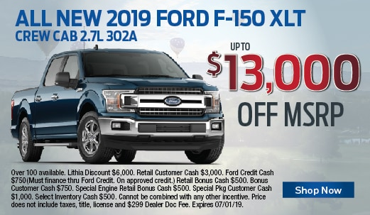 2019 Ford F-150 XLT $13,000 off MSRP