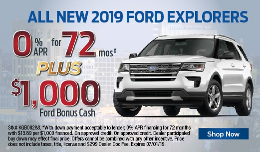 2019 Ford Explorers 0% APR for 72 mo plus $1,000 Bonus Cash