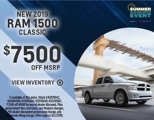 New 2019 RAM 1500 - $7500 off MSRP
