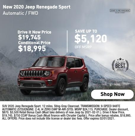 New 2020 Jeep Renegade Sport