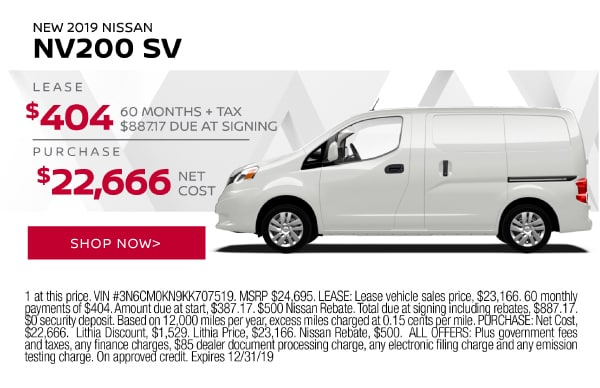 New 2019 Nissan NV200 SV, Lease $404, 60 months + tax, $887.17 due at signing. Purchase $22,666 net cost.
