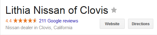 Lithia Nissan of Clovis Google Ratings