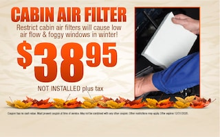 Cabin Air Filter $38.95 Not Installed Plus Tax