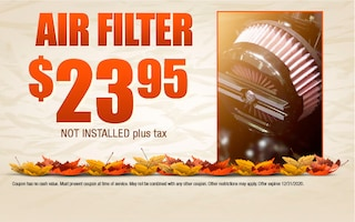 Air Filter $23.95 Not Installed Plus Tax
