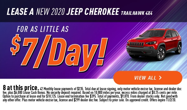 Lease a new 2020 Jeep Cherokee Trailhawk 4x4
