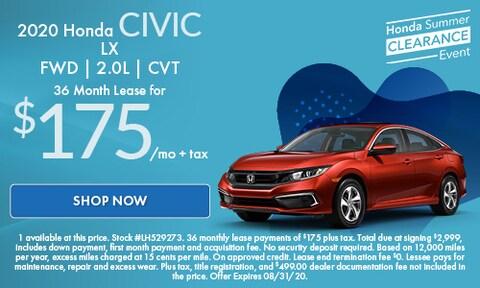 2020 Honda Civic LX  FWD | 2.0L | CVT