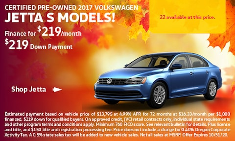 Certified Pre-Owned 2017 Volkswagen Jetta S Models