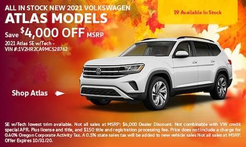 All in stock new 2021 Volkswagen Atlas Models