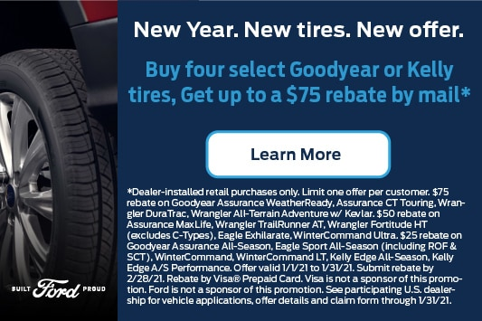 Buy 4 select Goodyear or Kelly tires, get up to $75 rebate