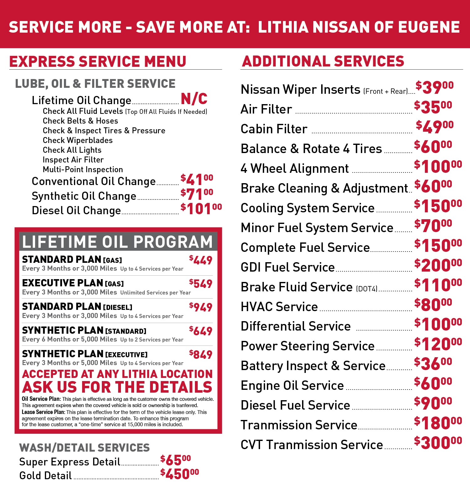 Lithia Nissan Service Price Menu