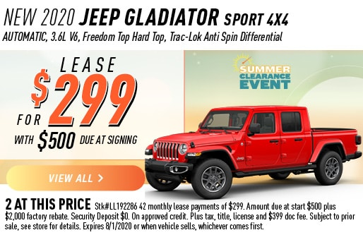2020 JEEP GLADIATOR SPORT 4X4 LEASE 299 / 42 MONTHS
