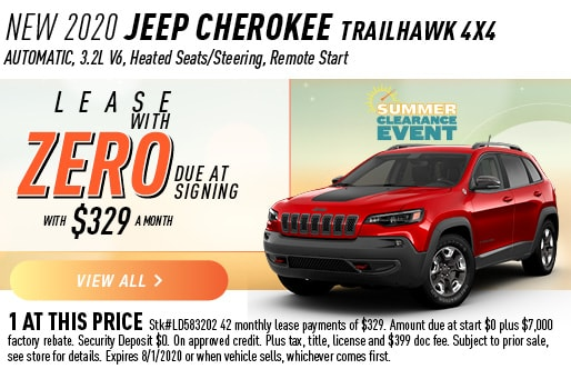 2020 CHEROKEE TRAILHAWK 4X4 LEASE ZERO DUE AT SIGNING