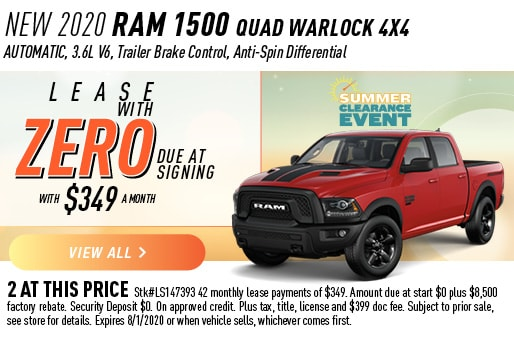 2020 RAM 1500 QUAD WARLOCK 4X4 LEASE ZERO DUE AT SIGNING