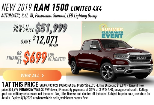 2019 RAM 1500 LIMITED 4X4 FINANCE ^699 / 84 MONTHS