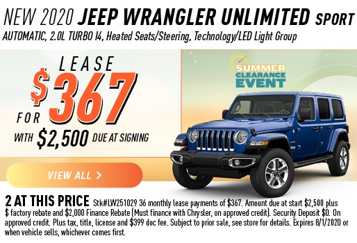 2020 WRANGLER UNLIMITED SPORT LEASE 367 / 36 MONTHS
