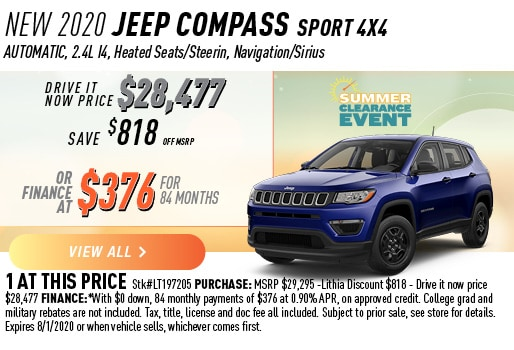 2020 JEEP COMPASS SPORT 4X4 FINANCE 376 / 84 MONTHS