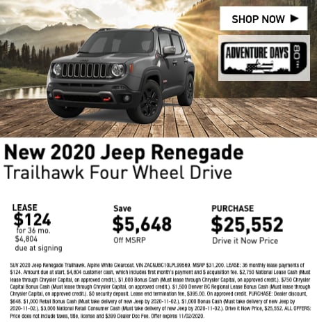 New 2020 Jeep Renegade Trailhawk Four Wheel Drive