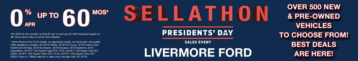 2019 Ford Presidents Day Purchase, Finance and Lease Offer Details | Ford offers during Presidents Day Sale near Livermore, in SF Bay Area.