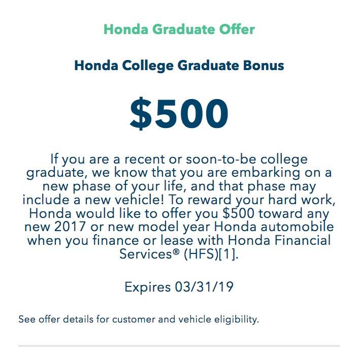 Attractive Honda College Graduate Offer