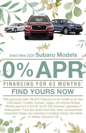 0% APR Financing for 63 mos select 2020 Subaru Models!*